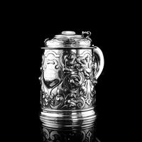 Antique Solid Sterling Silver Large Tankard with Royal Marines Officer Interest - Goldsmiths & Silversmiths Co 1900 (2 of 28)