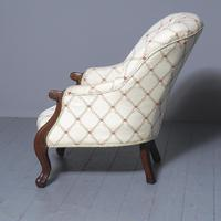 Antique Victorian Upholstered Mahogany Armchair (3 of 7)