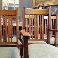 Arts & Crafts Oak, Medullery Ray Extending Table with 6 Chairs, in the manner of Liberty & Co (11 of 22)