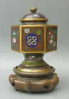 Japanese Cloisonne Lidded Vase on Hardwood Stand (2 of 7)