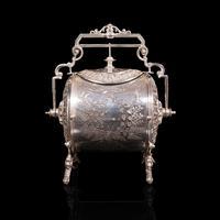 Antique Engraved Biscuit Barrel, Silver Plate, Decorative Jar, Victorian c.1860 (5 of 12)
