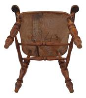 Elm and Beech Bow Armchair Elbow Desk Chair Victorian C1890 (8 of 8)