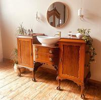 French Antique Style Washstand / Vanity / Cupboard With Basin Sink (5 of 8)