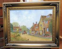 Large oil on canvas English countryside view  Listed artist Richard Temple (Free shipping to Mainland England) (9 of 10)