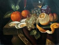 Fine Original 19thc Antique Spanish Fruit Wine & Oyster Still Life Oil Painting (10 of 13)