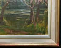 Superb Early 1900s Spring Blossom Riverscape Impressionist Oil Painting (10 of 13)