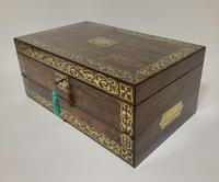 Superb Antique Rosewood Brass Inlaid Writing Slope Box with Double Hinge (9 of 12)
