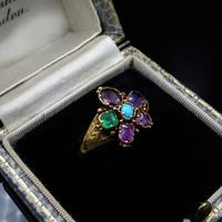 Antique Georgian Multi Gemstone Pansy Cluster 18ct Gold Ring (5 of 9)