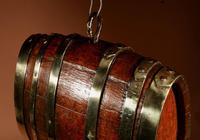 Very Rare and Beautiful Coopered Oak & Brass Small Hanging Barrel (9 of 12)