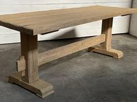 Primitive French Bleached Oak Farmhouse Dining Table (3 of 20)