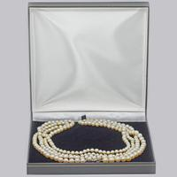 "1930s Pearl Necklace 36"" Long Diamond Clasp Vintage Double Strand Pearl Necklace (11 of 13)"