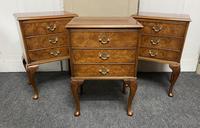 Set of 3 Burr Walnut Bedside Drawers
