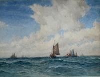 Frederick James Aldridge Watercolour 'Shipping at Sea'