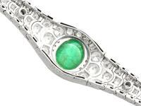 37.17ct Emerald & 6.55ct Diamond, 18ct White Gold Jewellery Set - Antique French c.1925 (15 of 23)