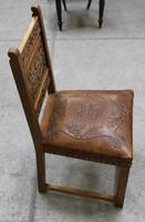 1900's French Oak Refectory Table with Set 6 Oak Chairs +Leather Embossed Seats. (7 of 9)