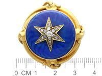 0.35ct Diamond & Enamel, 18ct Yellow Gold Brooch - Antique c.1880 (7 of 9)
