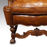 Antique Carved Walnut Leather Wing-back Chair (5 of 12)