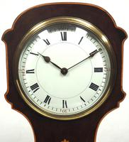 Impressive Solid Mahogany Tulip Cased Timepiece Clock with Satinwood Inlaid Decoration (4 of 10)