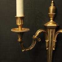 French Pair of Gilded Twin Arm Wall Lights (3 of 10)