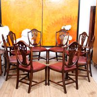 Dining Table & 8 Chairs Mahogany 3.2 Metres Long Hepplewhite Stalker (3 of 16)