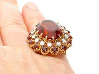 17.67ct Citrine & 1.33ct Diamond, 18ct Yellow Gold Dress Ring - Vintage French c.1950 (8 of 9)