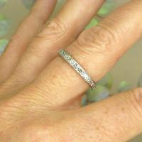 Antique Art Deco platinum diamond full eternity wedding band c1920's ~ Size Q / 8 (3 of 10)