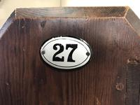 Antique Pitch Pine Church Pew with Enamel Number 27 (11 of 13)