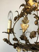Antique French Birdcage Style Gilt Toleware Ceiling Light Chandelier With Roses (2 of 10)