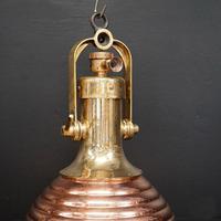 Original Large Copper Fluted Ships Cargo Light (2 of 8)