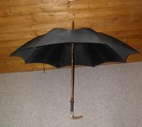 Antique hallmarked 1890 silver brigg black canopy umbrella 'T.S.E.' 'Edinburgh' (10 of 15)
