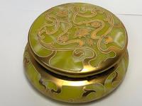 Antique Art Nouveau Loetz Art Glass Round Gilt Floral Trinket Box (18 of 33)