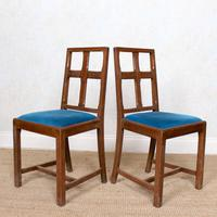 6 Arts & Crafts Carved Oak Dining Chairs (5 of 10)