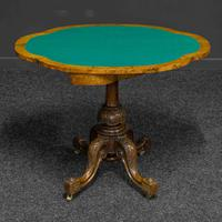 Victorian Burr Walnut Card Table with Green Baize (5 of 12)