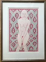 Original screen print 'Seated nude' by Warwick Hutton 1939-1994. Signed and dated 69. 5/20. Framed. (2 of 2)