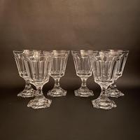 Six Val St Lambert 'Walewska' Crystal Wine Glasses