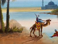Arabic School - Wonderful Early 20th Century Arabian Camels in Landscape Oil Painting (8 of 12)