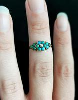 Antique Victorian Turquoise & Diamond Cluster Ring, 18ct Gold, Forget me Not (10 of 10)