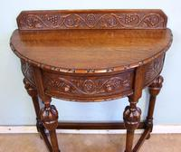 Antique Jacobean Style Carved Oak Demi Lune Side Table (4 of 8)