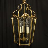 French Gilded Bronze Triple Light Antique Hall Lantern (2 of 10)