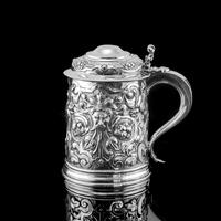 Antique Solid Sterling Silver Large Tankard with Royal Marines Officer Interest - Goldsmiths & Silversmiths Co 1900 (3 of 28)