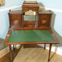 Victorian Mahogany And Inlaid Desk. (2 of 9)