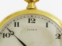Judex Art Deco Gold Filled Open Face Pocket Watch with Chain Swiss 1925 (2 of 7)