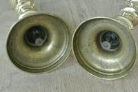"""Pair of Victorian Brass Candlesticks Round Base Through Pushers 9.75"""" c.1860 (4 of 5)"""