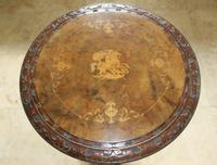Antique 19th Century Mahogany & Burr Maple Marquetry Veneer Side Table (3 of 14)