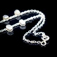 "Antique Moonstone Sterling Silver 16"" Riviere Fringe Necklace (4 of 7)"