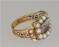 Georgian 15ct Gold Pearl Antique Memorial English Ring c.1800 (4 of 20)