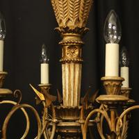 French Giltwood Polychrome 6 Light Chandelier (7 of 10)