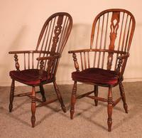 Near Pair of English Windsor Armchairs - 19th Century (5 of 11)