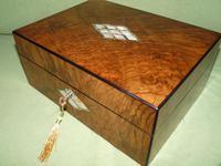 QUALITY Inlaid Figured Walnut Jewellery Box + Tray c.1870 (13 of 14)