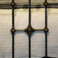 Late Victorian Cast Iron, Steel & Brass Antique Bed (8 of 9)